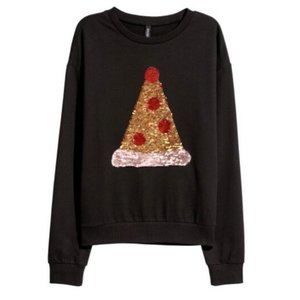 H&M Double sequin sweater pizza/christmas sweater